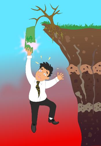Rysunek przedstawiający meżczyzne zwisającego nad przepaścią trzymającego jedną ręką banknot dolarowy
