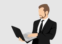 lustracja przedstawiająca mężczyznę z laptopem